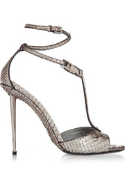 Embellished metallic python T-bar sandals