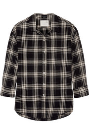 Oversized plaid cotton shirt