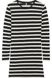 Striped cotton-blend mini dress