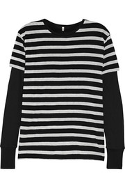 R13 Striped cotton and cashmere-blend jersey top