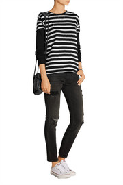 Striped cotton and cashmere-blend jersey top
