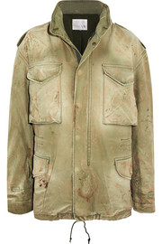 Distressed cotton-canvas hooded jacket