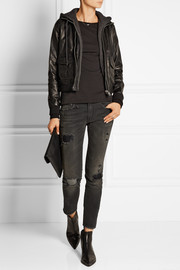 Jersey-lined leather flight jacket