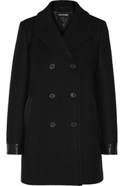 Tom Ford Leather-trimmed stretch-wool peacoat