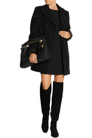 Leather-trimmed stretch-wool peacoat
