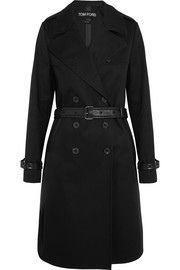 Leather-trimmed cotton-gabardine trench coat