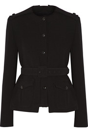 Belted stretch-wool jacket