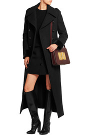 Double-breasted stretch-wool felt coat