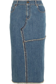 Frayed stretch-denim skirt