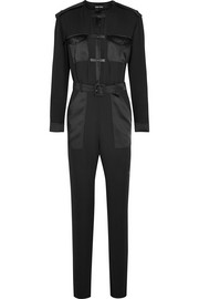 Leather-trimmed silk-georgette jumpsuit