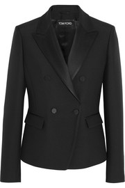 Satin-trimmed wool and silk-blend tuxedo jacket