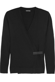 Tom Ford Leather-trimmed cashmere wrap cardigan