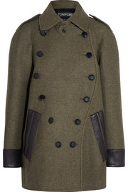 Leather-trimmed cashmere and wool-blend coat