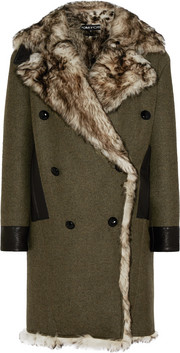 Shearling-lined cashmere and wool-blend coat