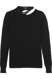 Cutout leather-trimmed wool-blend sweater