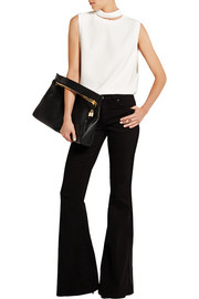 Cutout stretch-crepe top