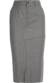 Pinstriped wool and cashmere-blend skirt