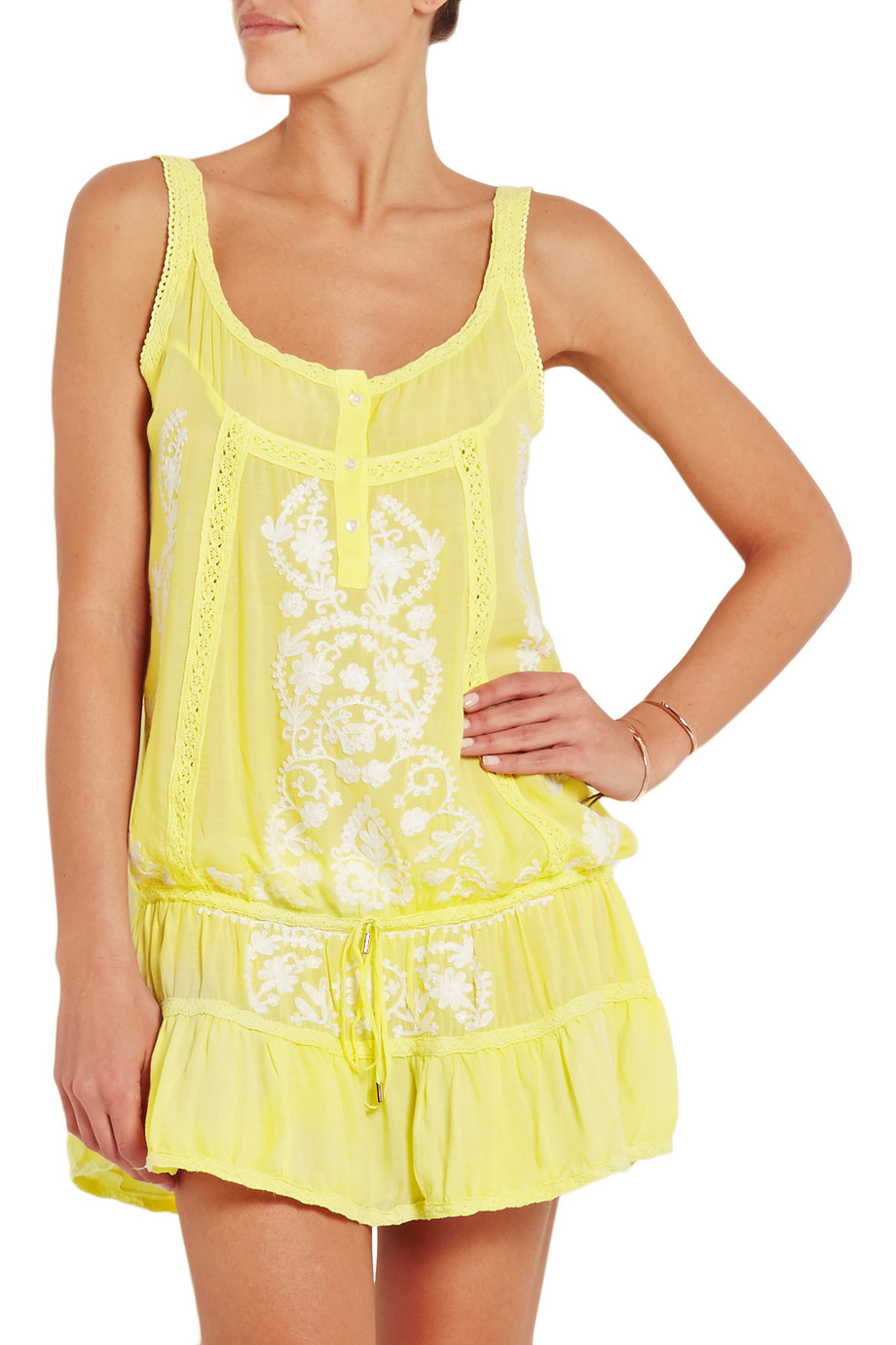 Melissa Odabash Jaz Embroidered Muslin Dress, Yellow, Women's