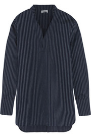Cairo pinstriped cotton and linen-blend top