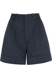 Tanzania pinstriped cotton and linen-blend shorts