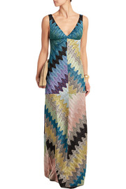 Missoni Paneled metallic crochet-knit gown