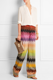 Metallic crochet-knit wide-leg pants