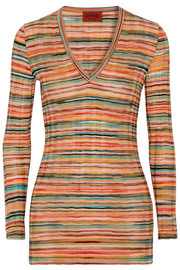 Sofia striped wool-knit top