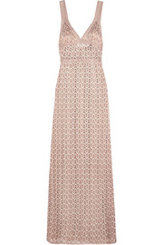 Metallic crochet-knit gown
