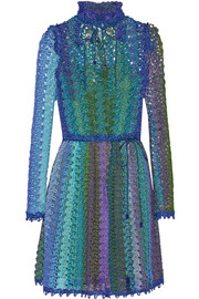Metallic crochet-knit dress