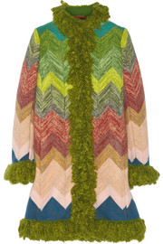 Zigzag bouclé-trimmed wool coat
