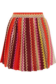 Pleated crochet-knit mini skirt