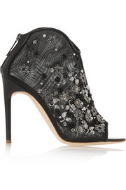 Little Gem leather-trimmed embellished mesh boots