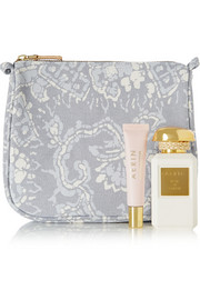AERIN Batik medium printed cotton-canvas cosmetics case