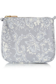 Batik medium printed cotton-canvas cosmetics case