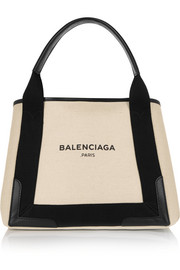Cabas S leather-trimmed cotton-canvas tote