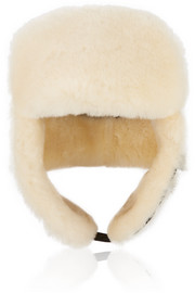 Canvas and shearling hat
