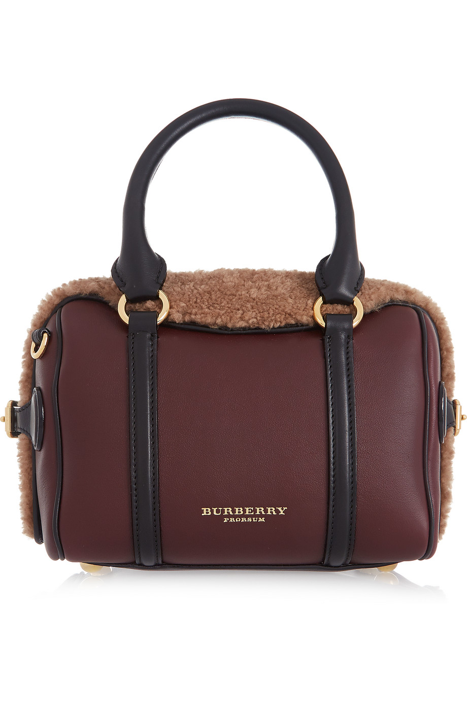 Prorsum Shearling and Leather Tote, Burberry Prorsum, Burgundy, Women's, Size: One Size