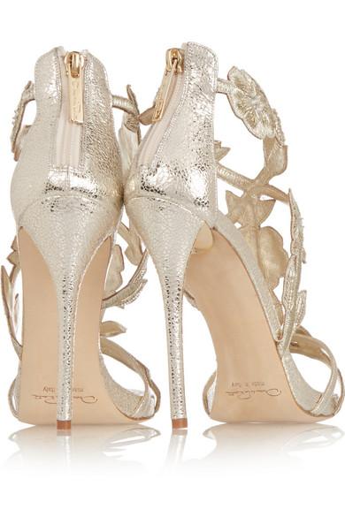 871b6b0cdc0a Oscar de la Renta. Tatum embellished metallic cracked-leather sandals