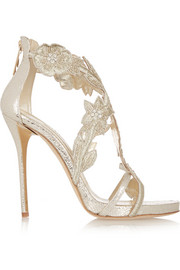 Oscar de la Renta Tatum embellished metallic cracked-leather sandals