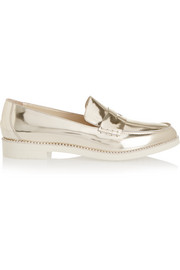 Oscar de la Renta Tenzin metallic leather loafers