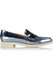 Oscar de la Renta Tenzin embellished metallic leather loafers
