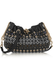 Domino embellished leather shoulder bag