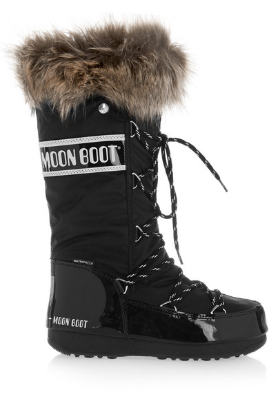 30c1a7bf2 Faux fur-trimmed piqué-shell and faux patent-leather snow boots