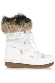 Faux fur-trimmed piqué-shell snow boots