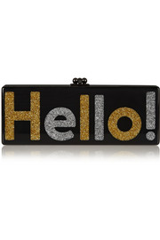 Flavia Hello! glittered acrylic box clutch