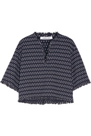 Laurie fringed stretch-knit top
