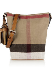 Mini leather-trimmed checked canvas shoulder bag