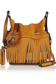 Fringed suede and checked canvas bucket bag