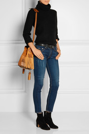 Burberry Shoes & Accessories Fringed suede and checked canvas bucket bag