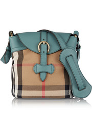 Sycamore leather-trimmed checked canvas shoulder bag